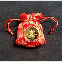 Đồng xu Đức Phật Nepal may mắn bình an, kèm túi gấm đỏ