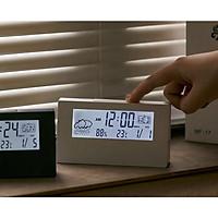 Đồng hồ điện tử báo thức để bàn có đèn, màn hình LCD cao cấp (Tặng móc khóa đa năng 3in1)