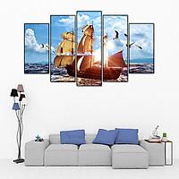 Tranh canvas treo tường - Thuận Buồm Xuôi Gió CE42 - vải canvas kim tuyến dán Pima, khung viền composite, công nghệ in UV