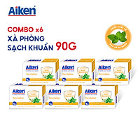 Aiken Combo 6 Xà Phòng Sạch Khuẩn Chiết Xuất Bạc Hà 90G/hộp