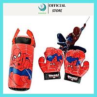 Túi Đấm Bốc Boxing Cho Trẻ Em Hình Người Nhện Đỏ Size Trung 37*18*18 cm, Kèm 2 Găng Tay Cho Bé+Tặng Kèm Hình Dán