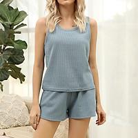 Women 2 Piece Outfits Tank Top Shorts Elastic Waist Drawstring Pocket Pajamas Casual Loose Loungewear Sleepwear Set