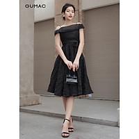 Đầm dáng xòe Luxury phối lưới gân GUMAC  DVA879