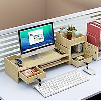 Kệ gỗ để màn hình máy tính có ngăn kéo 2 bên