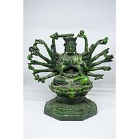Tượng Phật Bà nhiều tay ngồi tòa sen bằng đá xanh
