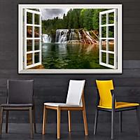 Bức tranh dán tường cửa sổ THÁC NƯỚC in giấy ảnh với 2 lựa chọn bề mặt cán PVC gương hoặc cán bóng 00402199L11
