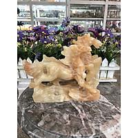 Tượng Ngựa cặp song mã phong thủy rước công danh tài lộc đá cẩm thạch vân gỗ trang trí phòng khách, bàn làm việc - Dài 22 cm