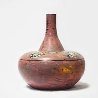 Bình hoa dáng củ tỏi - Lộc bình hút tài lộc Bát Tràng, Gốm sơn mài Bát Tràng, Nền sơn mài vỏ trứng, tráng bạc hiện đại và đẳng cấp