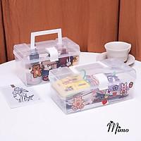 KÈM STICKER Hộp đựng đồ để bàn trong suốt đa năng có quai xách di động làm hộp đựng mỹ phẩm văn phòng phẩm đồ y tế