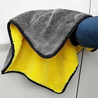 Khăn vải nhung san hô lau chùi xe chuyên dụng size 30cm ( giao màu ngẫu nhiên )