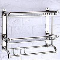 Kệ inox, giá inox dán tường 2 tầng có móc treo 40cm RE0160