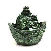 Tượng Đá Phật Di Lặc Phong Thủy Ngồi Thỏi Vàng - Màu Xanh Lục Bích