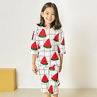 Bộ đồ lửng tay mặc nhà cotton giấy cho bé gái U2018 - Unifriend Hàn Quốc, Cotton Organic