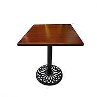 Bàn cafe chân gang đúc mặt bàn tre ép HIGHLAND 60x60N - Màu nâu cánh dán sang trọng