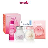 Combo 3 thực phẩm bảo vệ sức khỏe InnerB Aqua Bank (56 viên) + Viên uống hỗ trợ sáng da InnerB Snow White (28g) & Hộp 6 chai nước uống InnerB Glowshot (50mlx6)