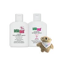 Combo sữa rửa mặt và tắm toàn thân cho da nhạy cảm Sebamed (50ml) và dung dịch vệ sinh phụ nữ Sebamed (50ml) tặng kèm gấu bông xinh xắn - SSS001
