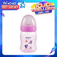 Bình sữa cổ rộng PP Plus họa tiết xanh/hồng Pigeon 160ml (SS)