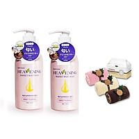 Set 02 chai sữa tắm dưỡng ẩm, làm trắng da toàn thân Hàn Quốc Heavening Perfect 750ml TẶNG kèm 01 Set 02 khăn cuộn cotton nhỏ (Giao màu ngẫu nhiên)