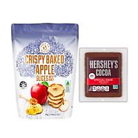 Táo Sấy Giòn Mật Ong DJ&A – Crispy Baked Apple slices With Honey 30G Kèm Gói Cacao Hershey's Powder