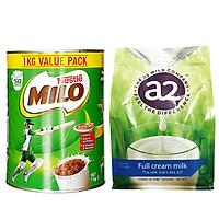Combo Sữa Milo Nestle 1kg và Sữa Tươi Dạng Bột Nguyên Kem A2 Full Cream 1kg, Hàng Nội Địa Úc 1Kg, Giúp Bé Tăng Cân Nặng và Phát Triển Chiều Cao, Khỏe Mạnh, Tăng Cường Hệ Miễn Dịch và Sức Đề Kháng, Thông Minh, Linh Hoạt Vuột Trội