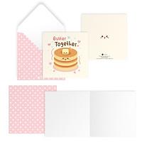 Thiệp tình bạn, tình yêu Valentine BUTTER TOGETHER vuông 12cm SDstationery CONFECTION bánh pancake bơ