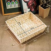 Khay tre gói quà, Khay mây tre vuông ( 33x30x9cm)