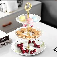 Kệ bánh cupcake 3 tầng, khay đựng bánh kẹo, hoa quả trang trí sinh nhật, tiệc cưới, sự kiện sang trọng (tặng 01 đèn led đom đóm)