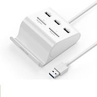 Bộ chia Hub USB 3.0*3 Port Hỗ trợ đọc thẻ nhớ + OTG 50CM màu Trắng UGREEN UHU30343US156 Hàng chính hãng