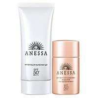 Bộ Đôi Sữa Chống Nắng Dưỡng Trắng, Dịu Nhẹ Da Anessa Kèm Hộp Quà (Whitening UV Sunscreen Gel 14719 90g + Perfect UV Sunscreen Mild Milk 14707 20ml + Anessa Box)