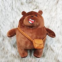 Gấu trúc we are bear màu nâu nhồi bông đeo cặp size 35cm