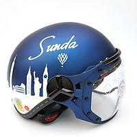Mũ bảo hiểm nửa đầu có kính Sunda 180B tem