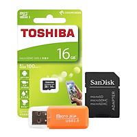 Combo Thẻ Nhớ Micro SDHC Toshiba 16GB (100Mb/s) + Adapter + Đầu Đọc Thẻ Micro - Hàng Nhập Khẩu