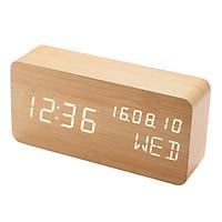 Đồng hồ LED báo thức đo nhiệt độ vỏ gỗ M2