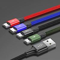 Dây cáp sạc đa năng Baseus Rapid 4 in 1 ( 1 Type-C, 2 Micro USB, 1 Lighning) cho iPhone/ iPad, Smartphone & Tablet Android (3.5A, 1.2M, Fast charge 4 in 1 Cable) - Hàng Nhập khẩu