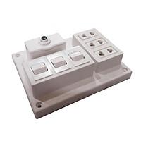 Bảng điện nổi 15A có 3 ổ cắm 3 công tắc LIOA CB15A3C