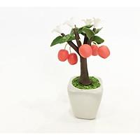 Chậu hoa đất sét mini - Cây táo đỏ phong thủy (phát màu ngẫu nhiên) - Quà tặng trang trí handmade