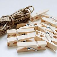 Bộ 100 kẹp gỗ treo ảnh kèm 15m dây thừng