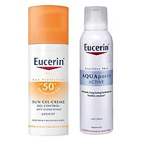 Bộ Kem Chống Nắng Kiểm Soát Nhờn Eucerin Sun Gel-Creme Oil Control Dry Touch SPF 50+ (50ml) Và Xịt Khoáng Chống Lão Hóa Eucerin Aquaporin Active (150ml)