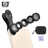 APEXEL APL-DG5H 5 in 1 Cellphone Lens Kit 198° Fisheye Lens 0.63X Wide Angle Lens 15X Macro Lens 2X Telescope CPL Lenses