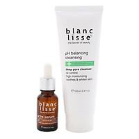 Combo Giảm  Mụn Trắng Da BLANC LISSE - Gel Rửa Mặt pH BALANCING CLEANSING 100ML + ACTRE SERUM Ngừa Mụn 15ML