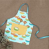 Tạp dề, yếm nấu ăn, học vẽ, hình chiếc bánh kem, cupcake màu xanh dương đáng yêu dành cho bé gái