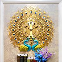 Đồng hồ treo tường trang trí con công đôi