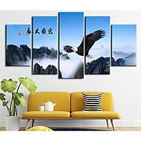Bộ 5 tranh canvas treo tường phong thủy Đại Bàng tung cánh - B5T039
