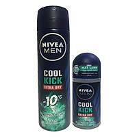 Bộ đôi Lăn khử mùi 50ml và Xịt Khử mùi 150ml Nivea Men Cool Kich Extra Dry- Cool Fresh 48h-Mẫu Mới