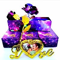 Quà 8/3 Cho Vợ Ý Nghĩa và Cho Mẹ - (phiên bản giới hạn) Hoa Hồng Mạ Vàng 24k Màu Tím Phát Sáng Có Đèn Led Khung Hình Chữ Love