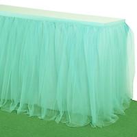 Solid Color Multi-Layer Nylon Mesh Chiffon Table Skirt Elegant Party Wedding Table Decoration