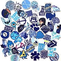 Bộ 50 Sticker Blue Hình Dán Decal Chất Lượng Cao Chống Nước Chủ Đề Màu Xanh Dương