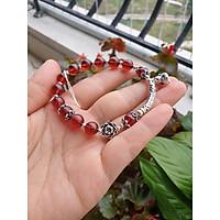 Lắc Tay Đá Garnet Đỏ (Ngọc Hồng Lựu) 8 Ly Loại A Hàng Trong, Màu Đẹp Mix Charm Bạc S925