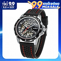 Đồng hồ thể thao sang trọng dành cho nam đeo tay dây da tự động (Mặt đồng hồ màu đen)