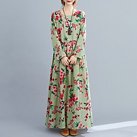 Women Dress Floral Print Multi Color O-Neck Long Sleeve Vintage Casual Loose Beach Holiday